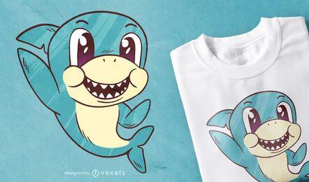 Projeto bonito do t-shirt do tubarão do bebê