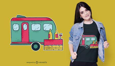 Design de t-shirt de campista van vinho