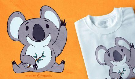Diseño lindo de camiseta de koala