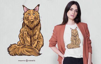 Diseño de camiseta de gato maine coon