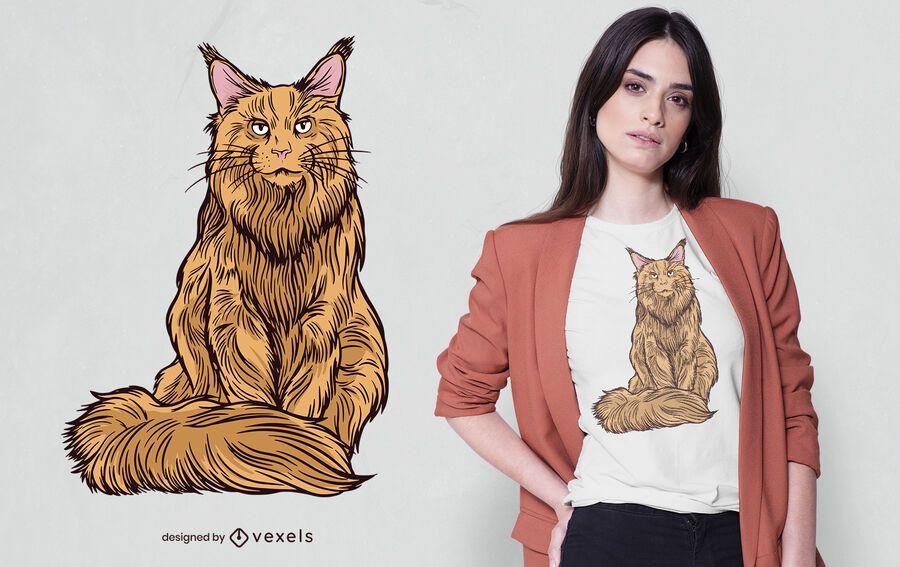 Maine coon cat t-shirt design