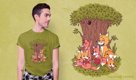 Diseño de camiseta de zorros familiares