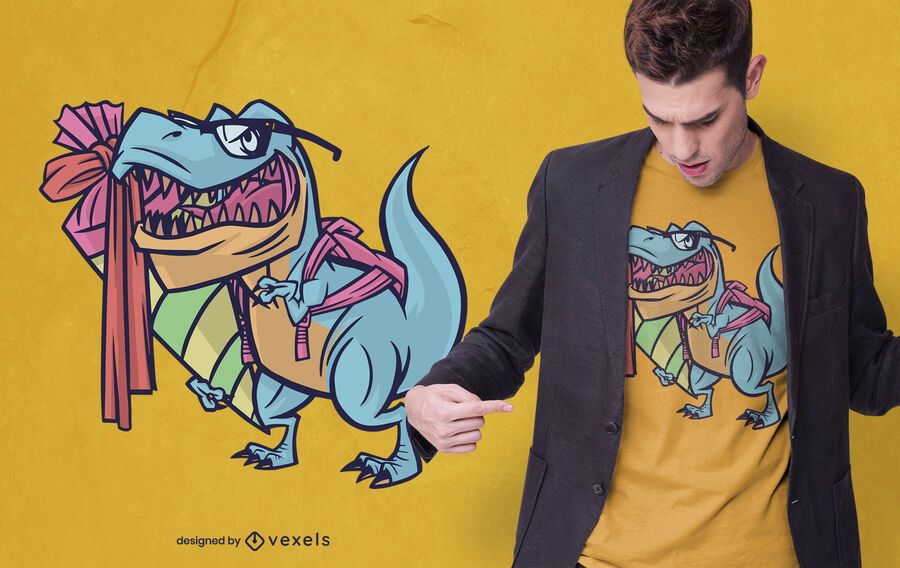 Design de camisetas T-rex de volta às aulas