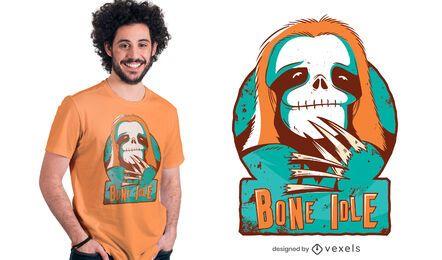 Diseño de camiseta de cráneo perezoso
