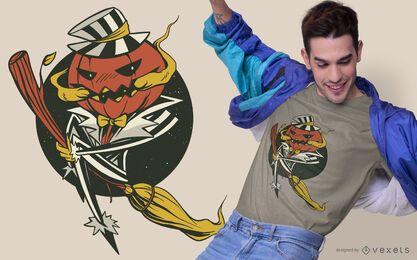 Design de t-shirt de halloween de vassoura de abóbora