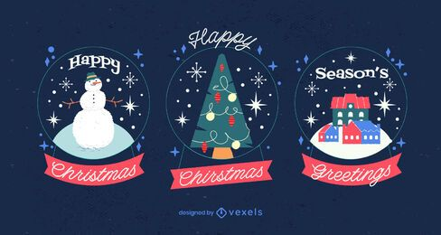 Christmas Snow Globe Illustration Pack