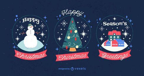 Pacote de ilustração do globo de neve de Natal