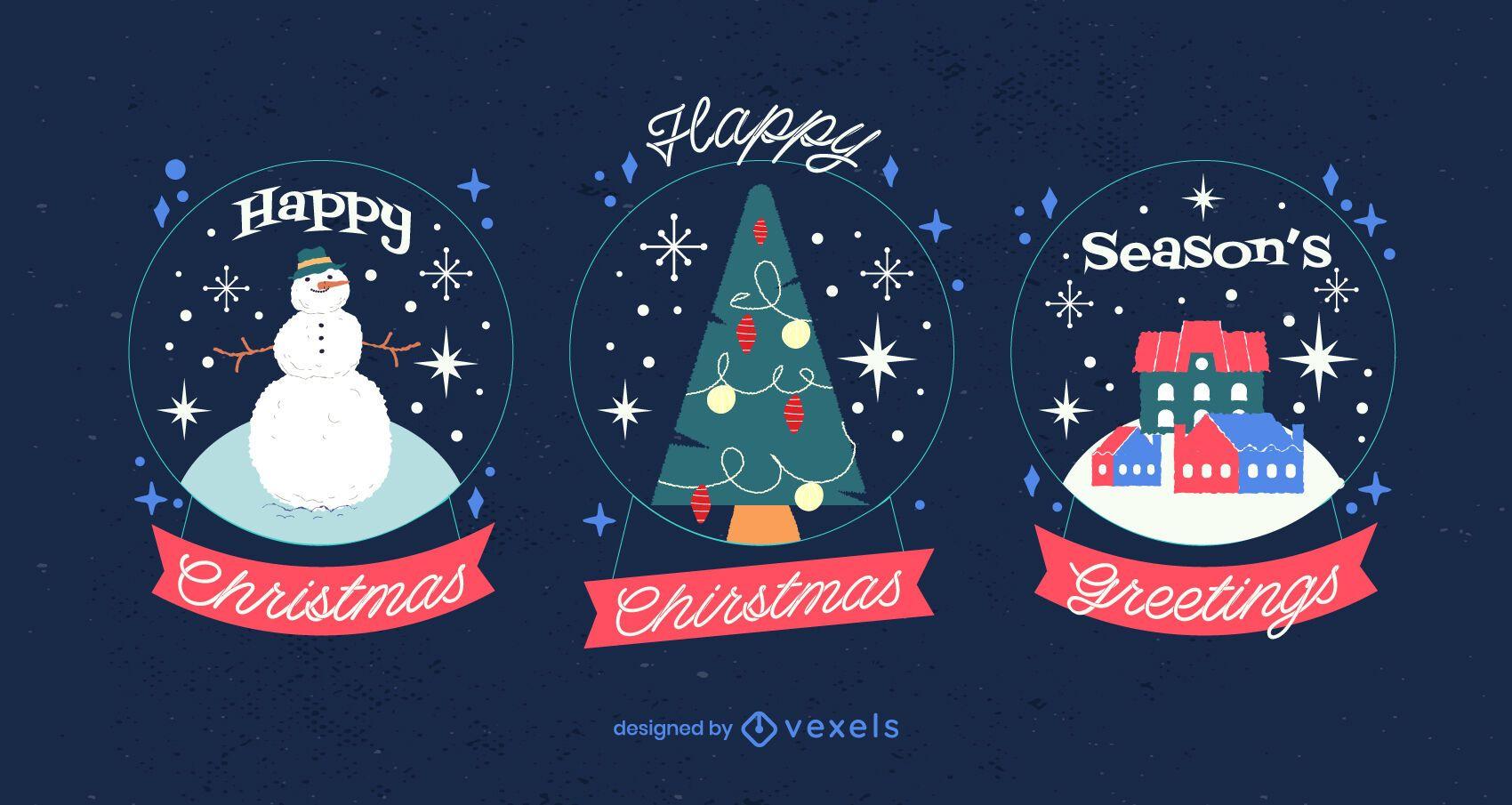 Paquete de ilustración de globo de nieve de Navidad