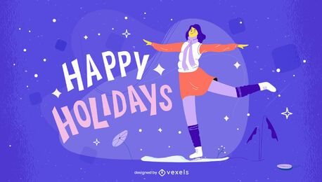 Happy holidays christmas illustration