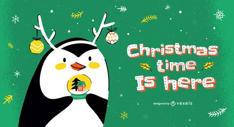 Christmas time is here illustration design