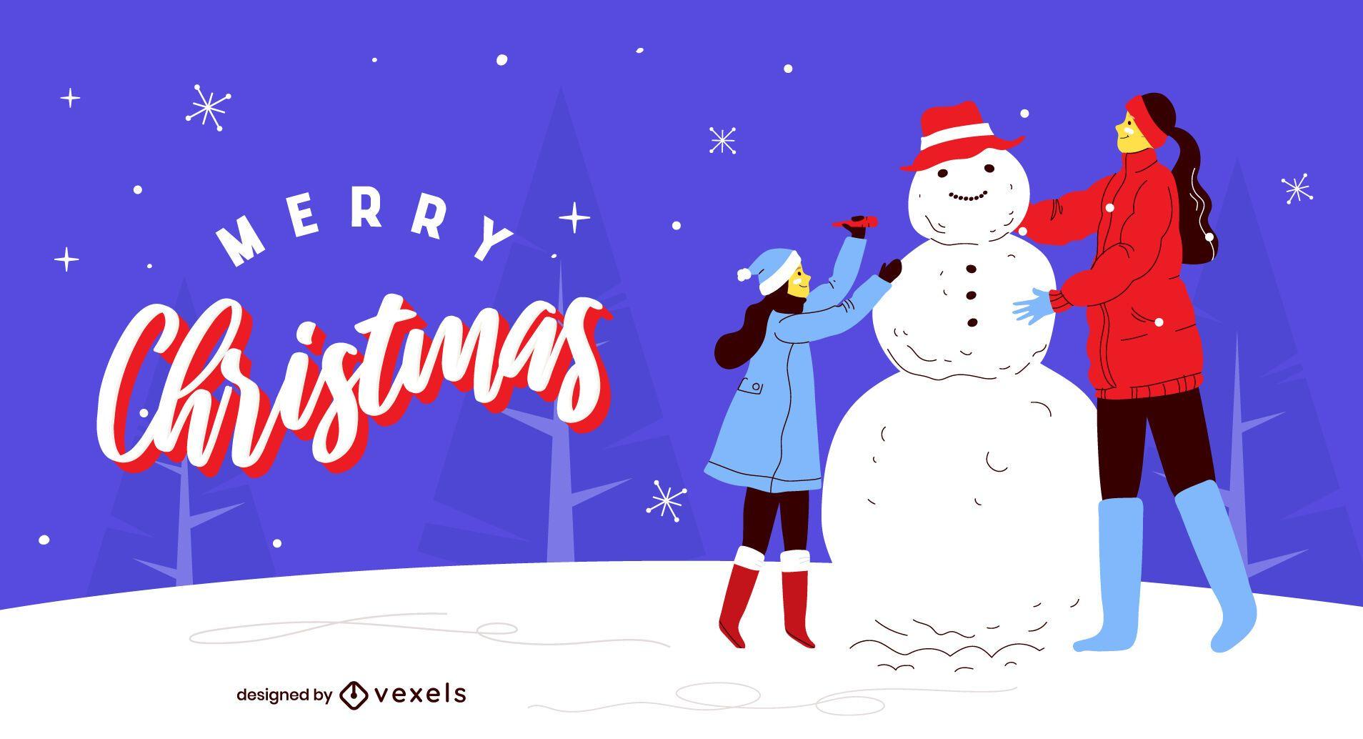 Merry christmas illustration design