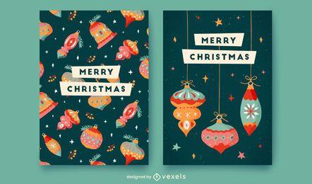 Conjunto de modelo de cartão de feliz Natal