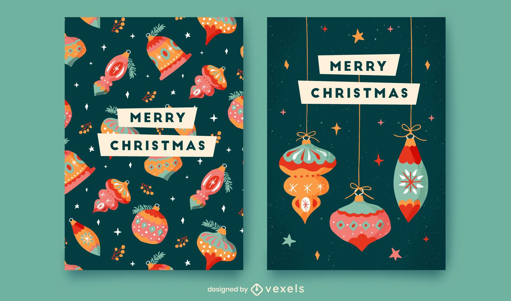 Merry christmas card template set