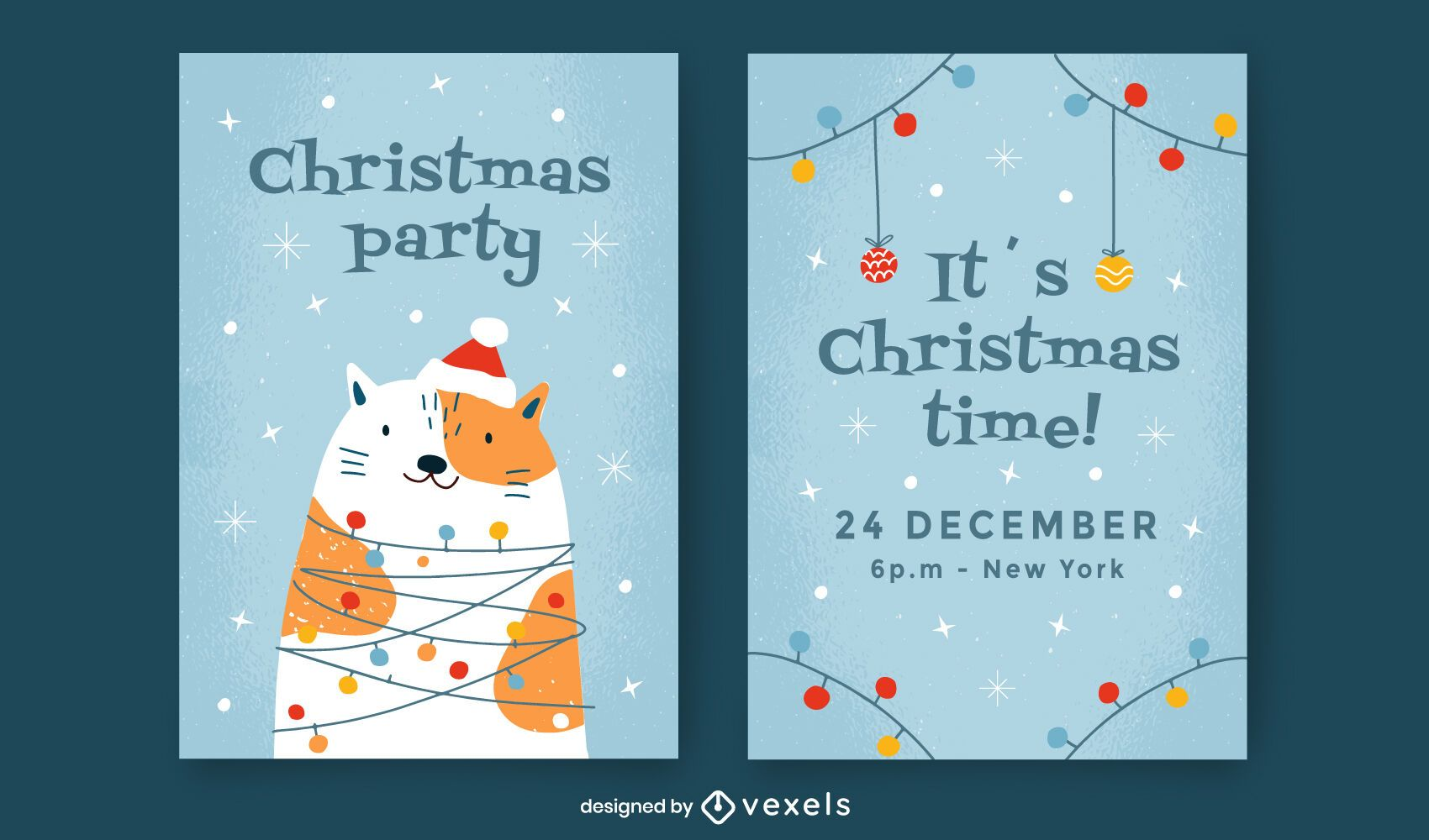 Christmas party invitation template set