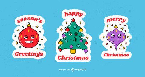 Weihnachtsaufkleber-Cartoon-Satz
