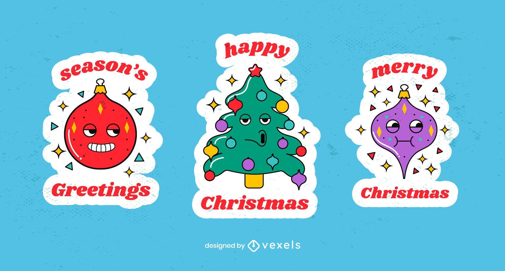 Christmas stickers cartoon set