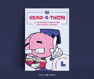 Design de cartaz de maratona de leitura