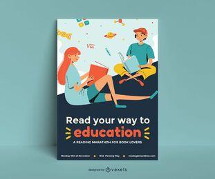 Diseño de cartel de desafío de lectura
