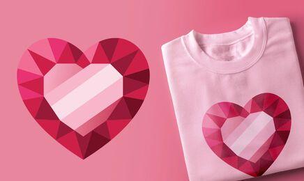 Design de t-shirt de coração de diamante