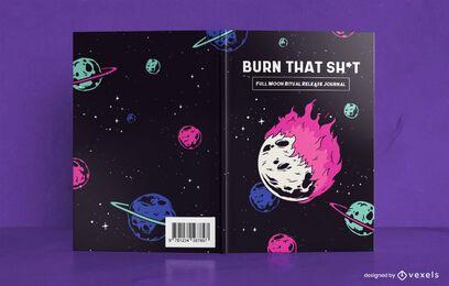 Design de capa de livro de jornal de lua cheia