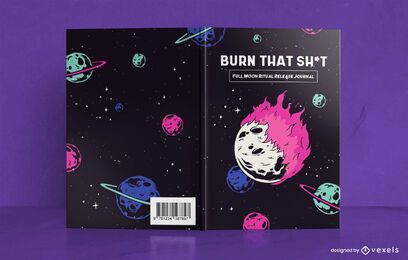 Diseño de portada de libro de diario de luna llena