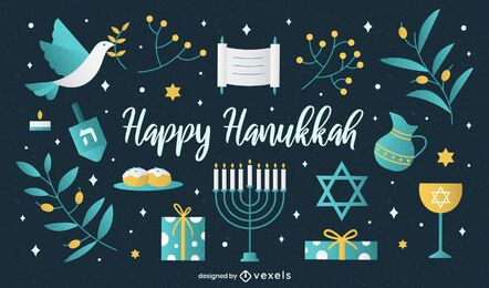 Happy hanukkah illustration set