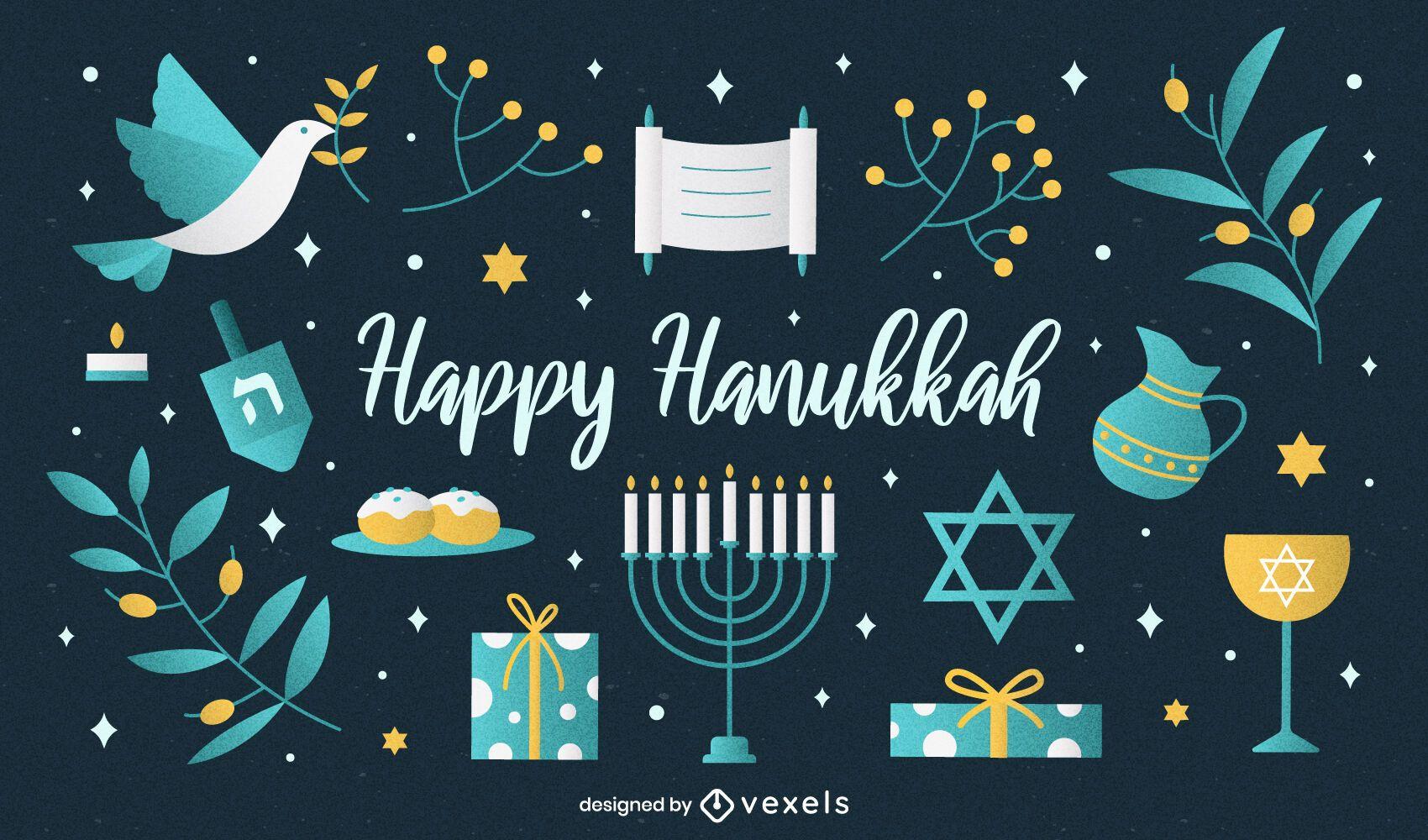 Happy hanukkah illustration set