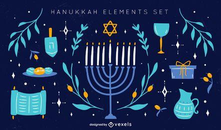 Hanukkah elements illustration set