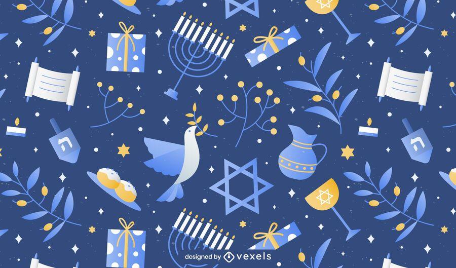 Traditional Hanukkah elements pattern design