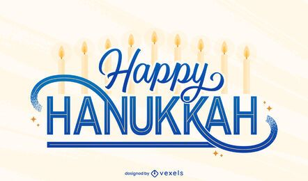 Happy hanukkah holiday lettering design