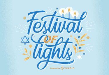 Festival de luces diseño de letras de hanukkah