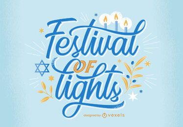 Festival of lights hanukkah lettering design