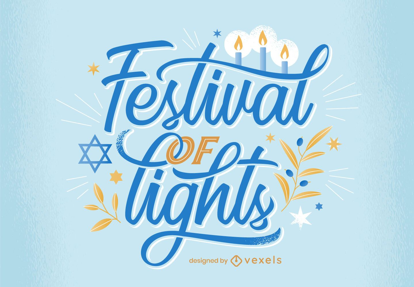 Festival of lights hanukkah lettering design
