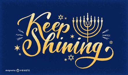 Continue brilhando design de letras de hanukkah