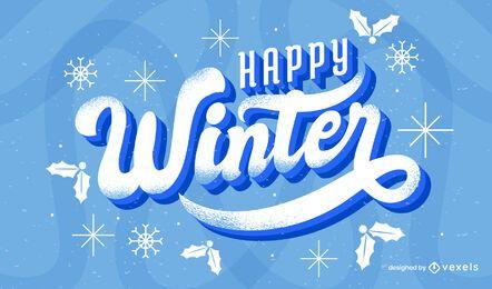 Glückliches Winterbeschriftungsdesign