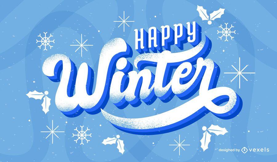 Desenho de letras de inverno feliz