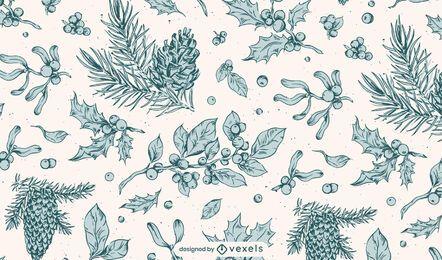 Projeto de padrão botânico de inverno