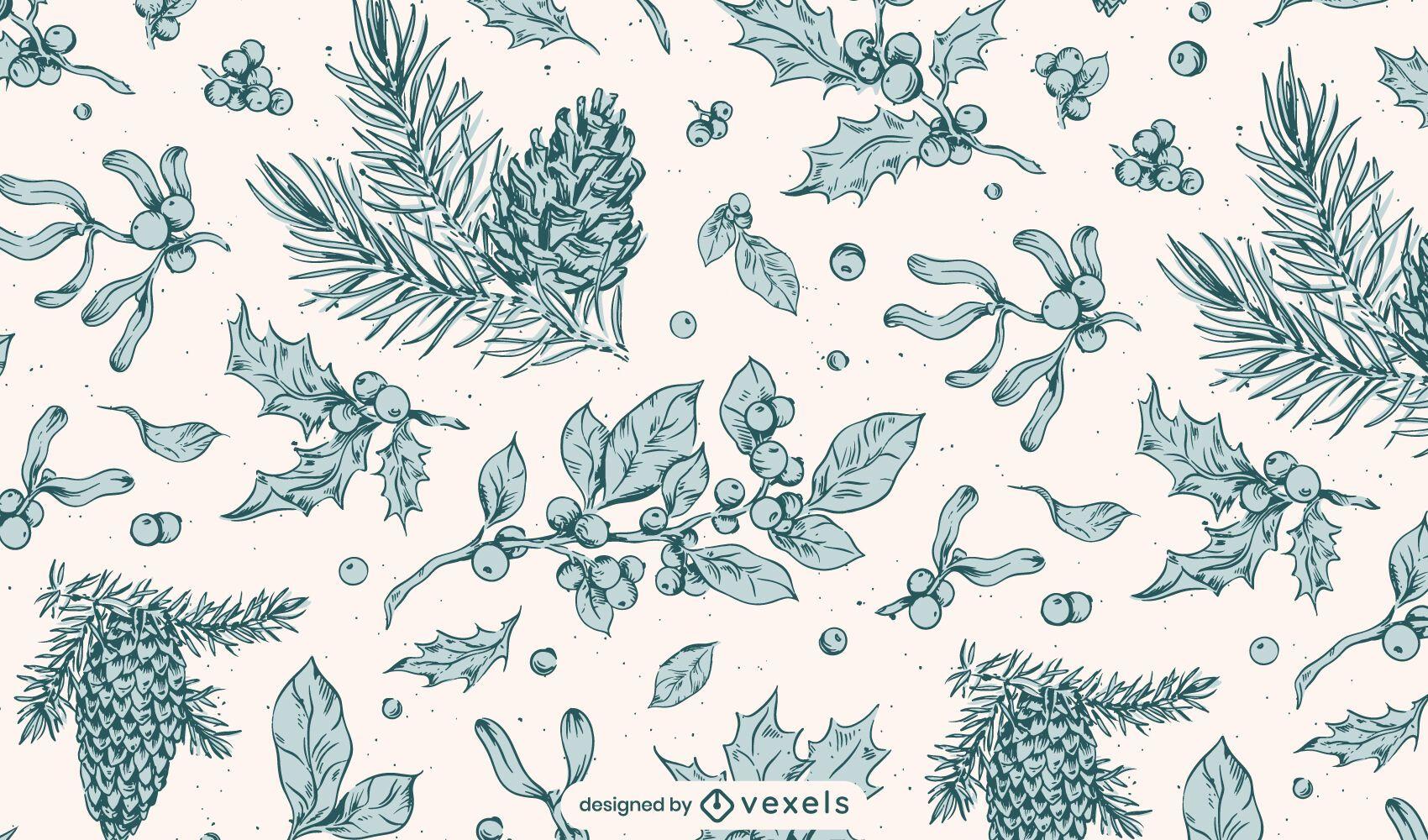 Botanical winter pattern design