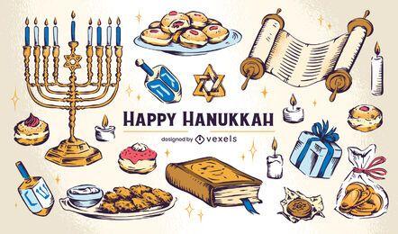 Conjunto de ilustração de elemento de Hanukkah