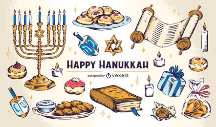 Hanukkah element illustration set