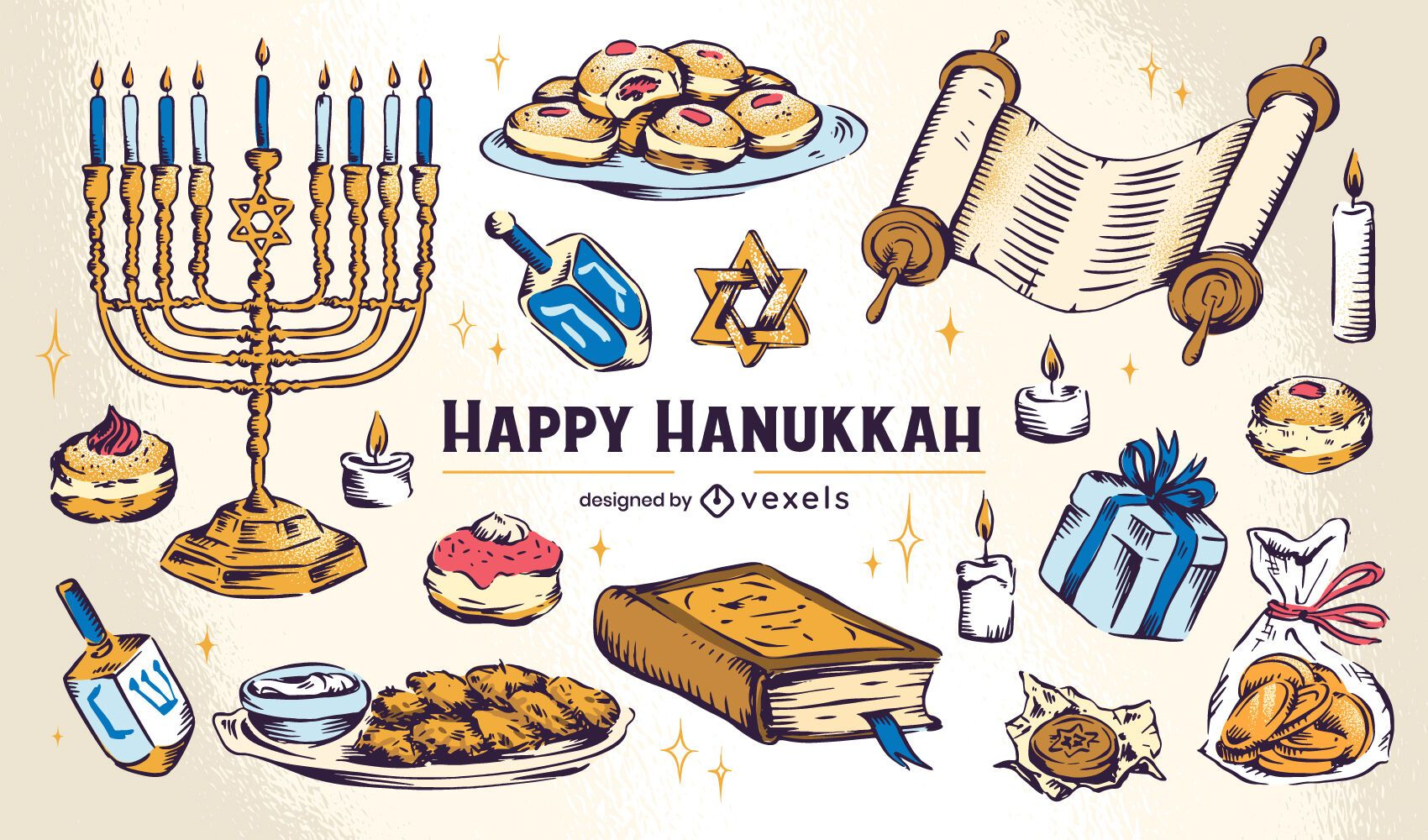 Conjunto de ilustración de elementos de Hanukkah