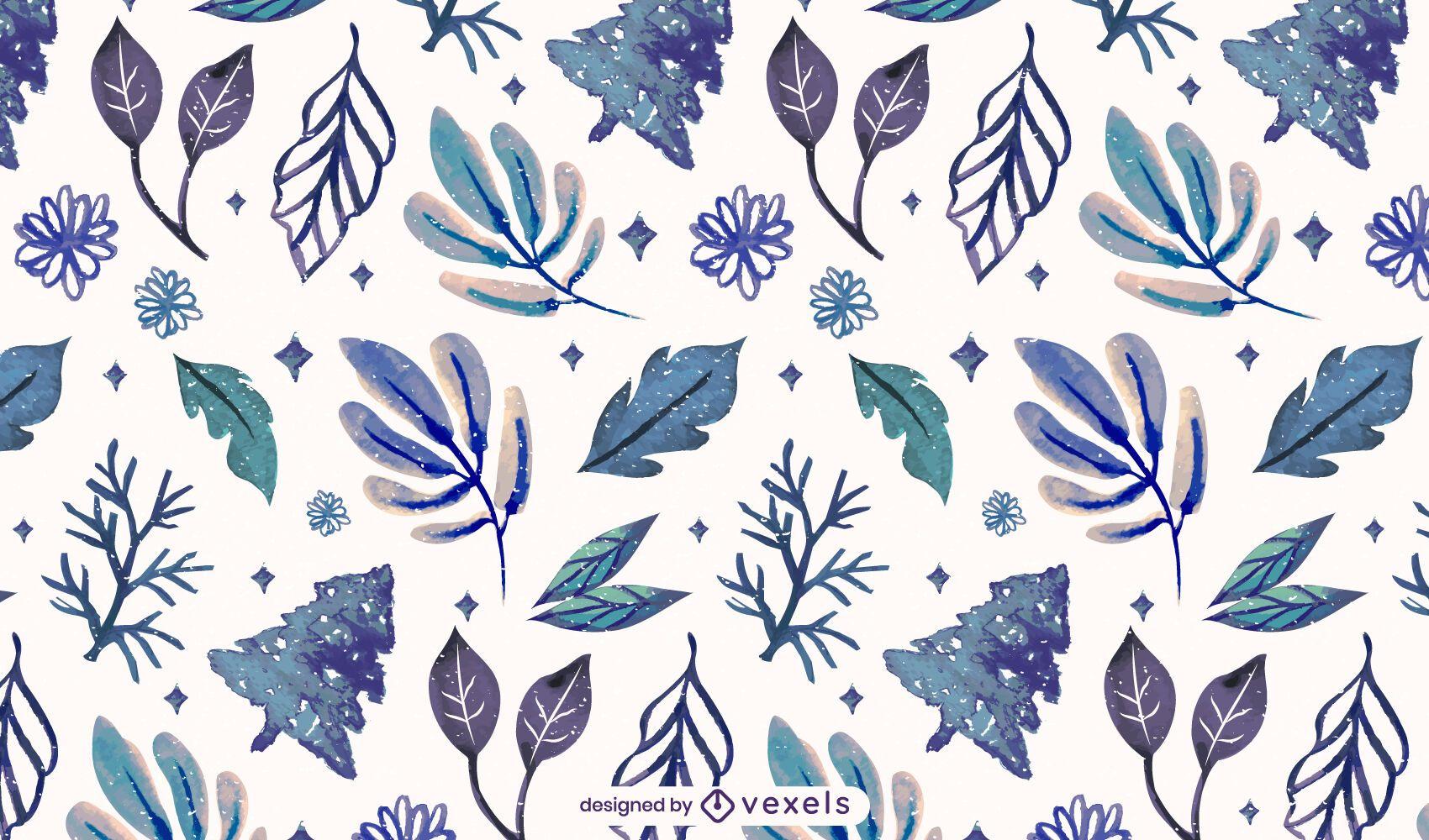 Diseño de patrón de hojas de invierno