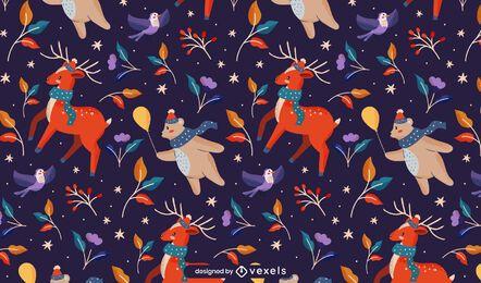 Diseño de patrón de invierno de navidad