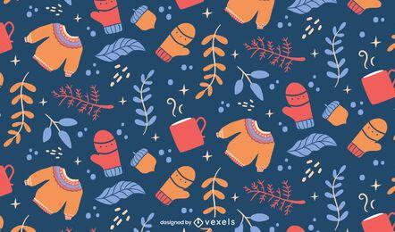 Design de padrão frio de elementos de inverno