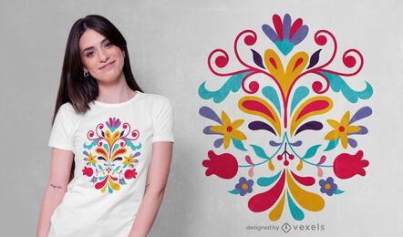 Diseño de camiseta mexicana de flores otomíes