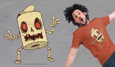 Diseño de camiseta Zombie Toilet Paper Monster