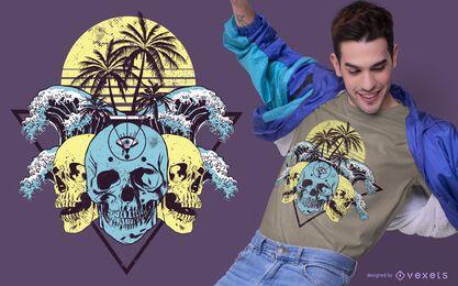 Diseño de camiseta de calaveras tropicales