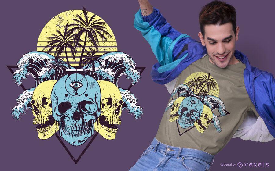 Design tropical do t-shirt dos crânios