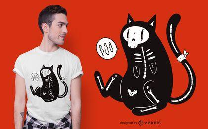 Diseño de camiseta de gato esqueleto