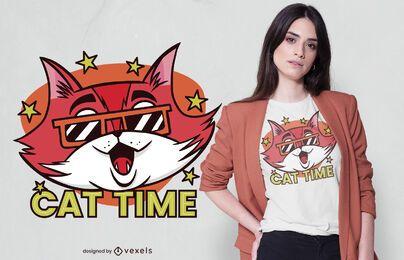 Diseño de camiseta Cat Time
